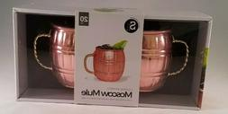 Moscow Mule Copper Barrell Mugs Twisted Handles 20 oz Silver