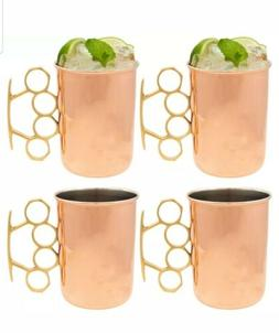 Copper Moscow Mule Mugs Set of 4 Brass Knuckles 20oz Old Dut