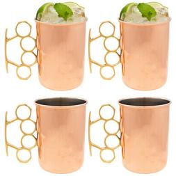 Copper Moscow Mule Mugs Set of 4 Brass Knuckle 20oz Old Dutc