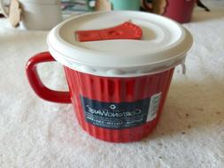 Corning Ware  Red 20 Oz Stoneware Soup Cup Mug With Plastic