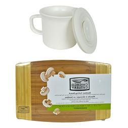 Corningware 20oz Hammered White Mug w/ Lid & Chicago Cutlery