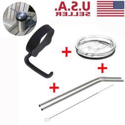 Cup Handle+Lid+Straws+ Brush Set For 20Oz YETI Tumbler Rtic