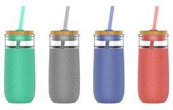Ello Devon 20 oz Glass Tumbler with Straw, 4 Colors