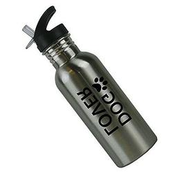 Dog Lover with Paw Print Stainless Steel Silver 20 Oz  Water