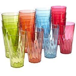 Drinking Tumbler Plastic Glasses Set 16-Pack 20 Oz. Water So