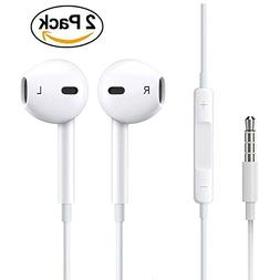 Nilope 2 Pack Earphones, Headphones with Remote and Mic 3.5m