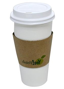 Eco-friendly White Paper Hot Coffee Cup with Tan Cup Sleeves