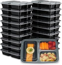 EZ Prepa  32oz 3 Compartment Meal Prep Containers with Lids