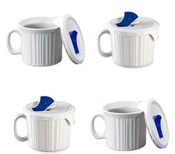 CorningWare French White Pop-Ins 20-ounce Mug with Blue Vent