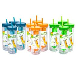Fruit Infuser Water Bottle with Straw - 20 oz - BPA Free