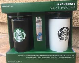 Starbucks Gift Set 2 Steel Vacuum 20 oz Tumblers with Tritan
