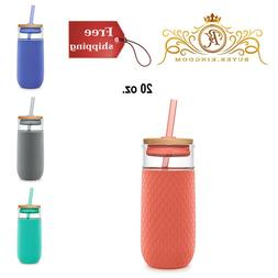 Glass Tumblers With Straw Juice Tea Water Odor BPA Free Glas