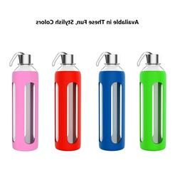 Glass Water Bottle 20 Oz BPA Free Reusable Silicone Sleeve L