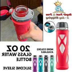 Glass Water Bottle With Silicone Sleeve Sports Travel Spilky