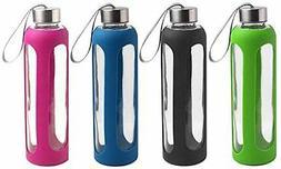 Estilo Glass Water Bottles 20 Oz, Stainless Steel Cap with P