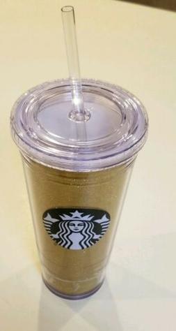 Starbucks~GOLD Glitter Sparkle Plastic Tumbler Straw Cup w/