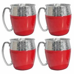 Members Mark Hammered Moscow Mule Mug Set 4Pk Red Stainless