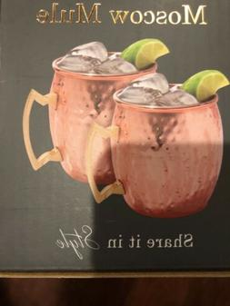 Hammered Moscow Mule Mugs  2 Pack 20 Oz New In Box