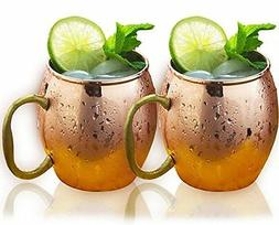 Estilo Handcrafted Solid Copper Moscow Mule Mugs, 20-ounce -