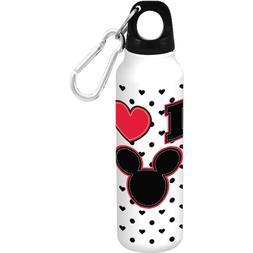 Disney I Love Mickey Mouse Hearts White Water Bottle Aluminu