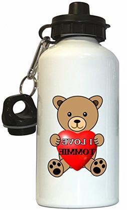 I Love Tommie Water Bottle White