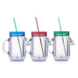 Mason Jars With Handles Tumbler Drinking Mug with Striped St