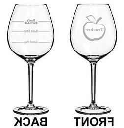 Jumbo 20oz Wine Glass 2 Sided Teacher Good Bad Day Fill Line