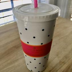 Kate Spade Larabee DOT Insulated Lidded Tumbler w/Straw NEW