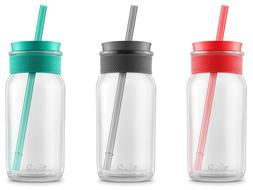 Ello Kella BPA-Free 20 oz Glass Sipper with Straw, 3 Colors