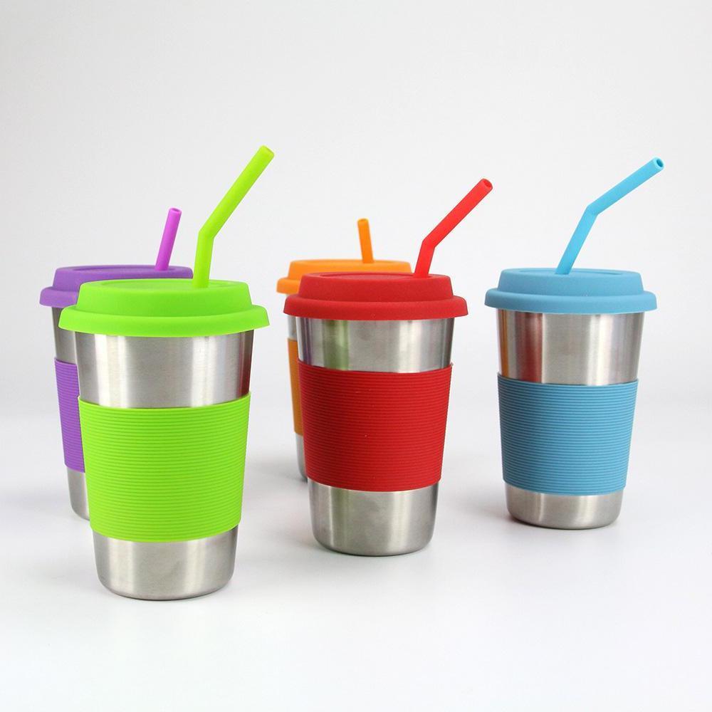 1/3Pcs Reusable Silicone Drinking Straws Set Brushes Tumbler Party