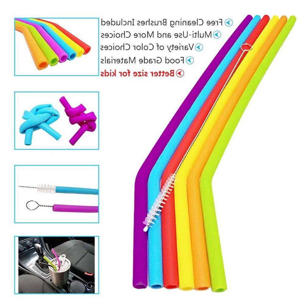 1/3Pcs Reusable Silicone Straws Set Flexible with Brushes <font><b>oz</b></font> Tumbler