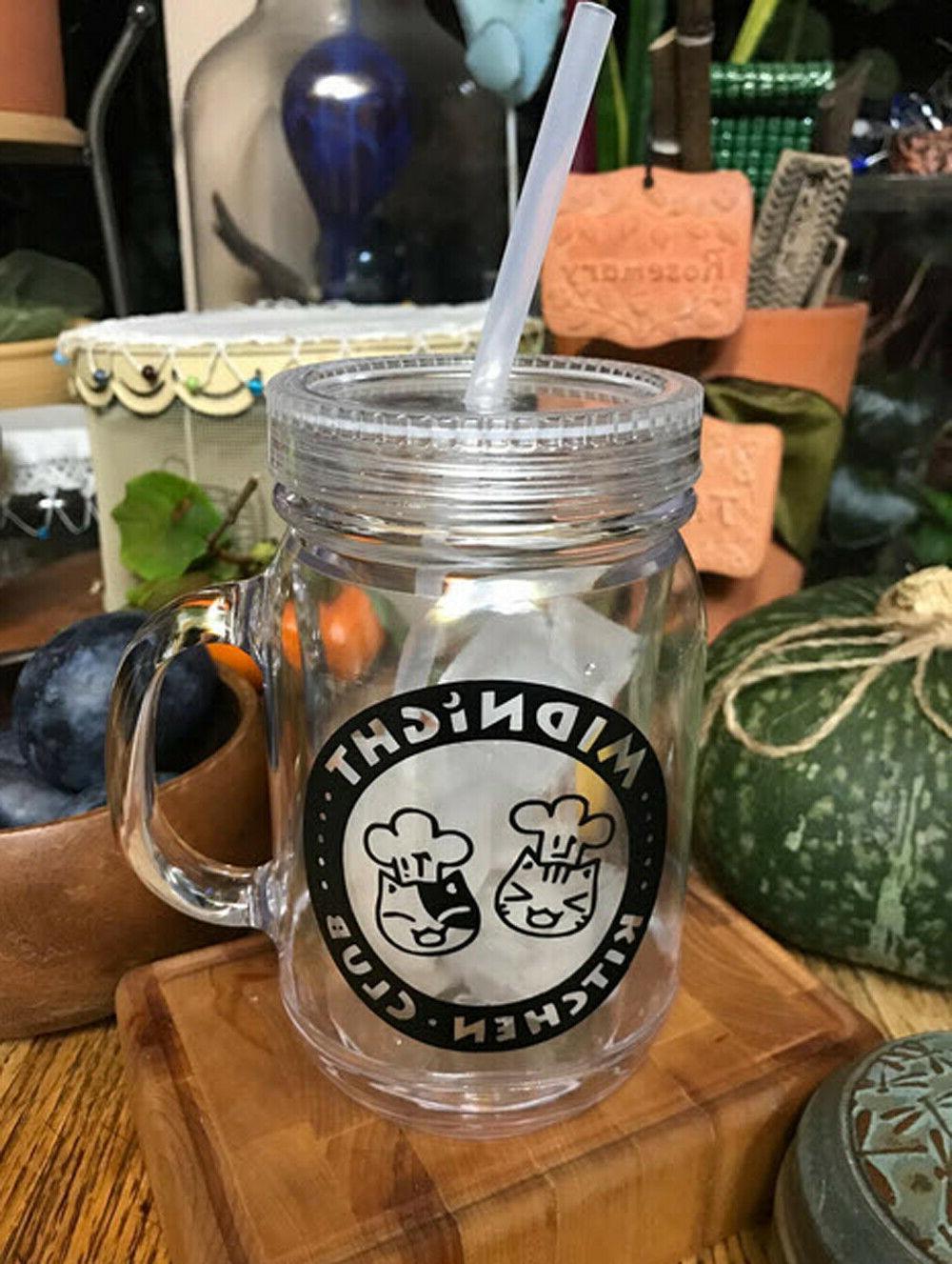 100% BPA Jar Sports Bottle W/Straw Drink oz