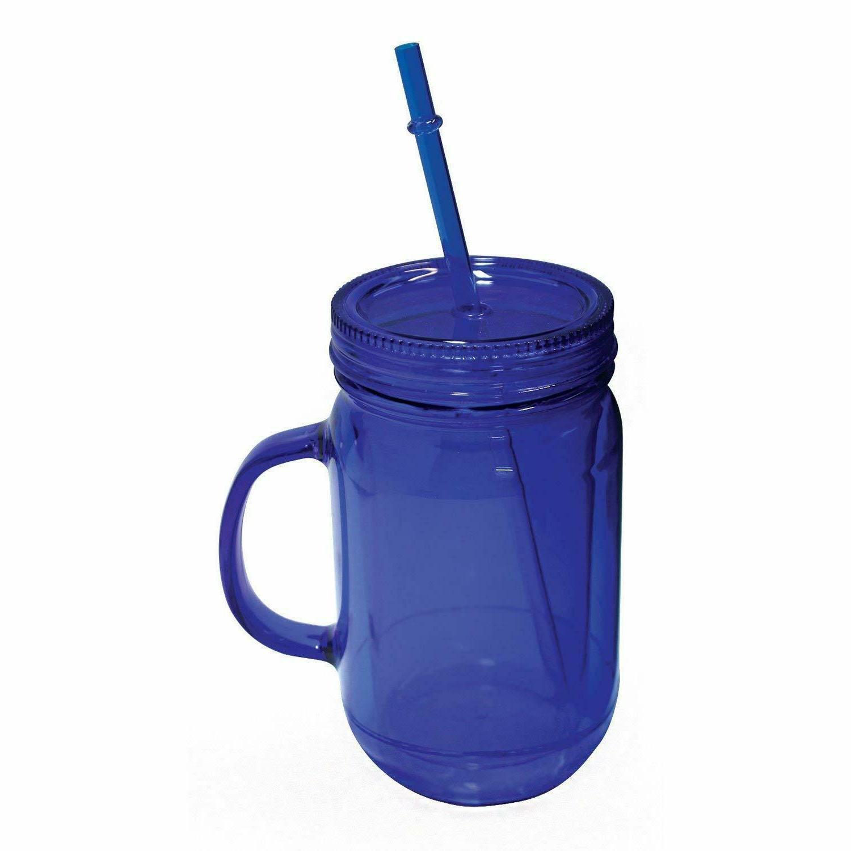 100% BPA Jar Cup W/Straw Wall Drink