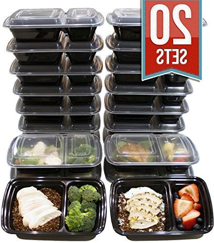32 Oz. 2 Compartment Food Containers Durable BPA Free Plast