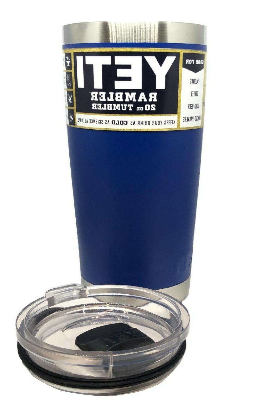 20 oz blue rambler tumbler with magslider
