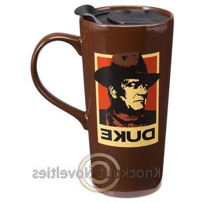 20 Oz Ceramic Travel Mug John Wayne A Mans Got To Do Fun Nov