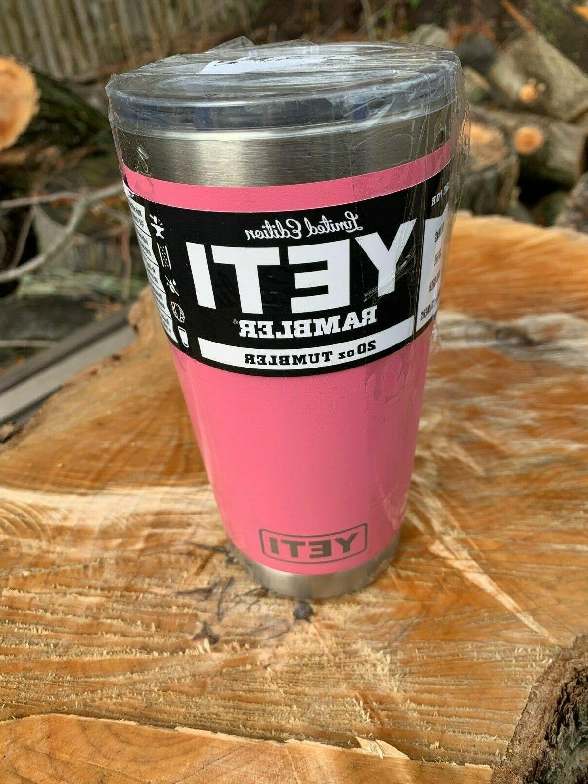 YETI 20 oz  Harbor Pink - Rambler Tumbler with mag slider li