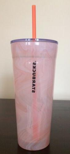 STARBUCKS 20 oz. Orange/White MARBLE Swirl COLD CUP GLASS BL