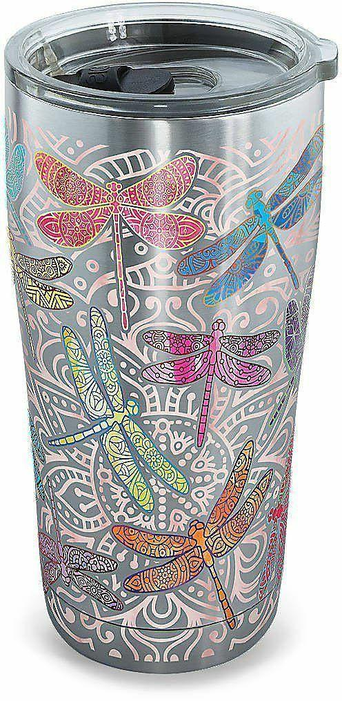 Tervis 20 oz. Stainless Steel Dragonfly Tumbler Cup Pink Mul