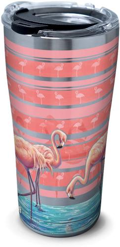 Tervis 20 oz. Stainless Steel Flamingo Stripe Tumbler One Si
