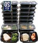 32 Oz. 2 Compartment Meal Prep Containers Durable BPA Free