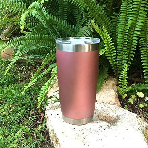 Tumbler Splash Sliding Lid Quality Double Vacuum Insulated Travel Mug - Insulated Hot & Cold - Gold 20