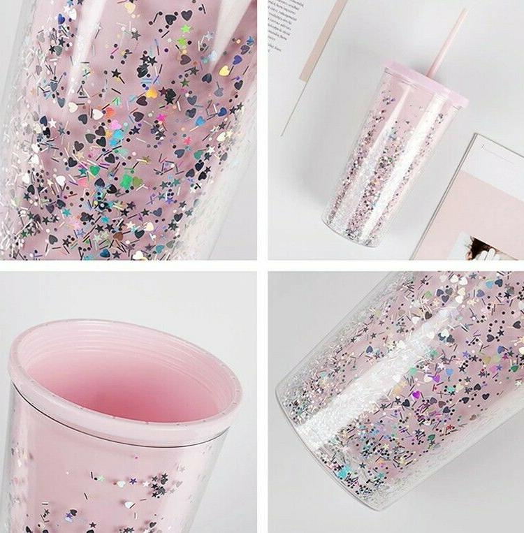 20oz Clear Tumbler Mug Insulated PINK Wall Cup