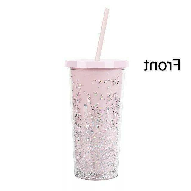 20oz Glitter Tumbler Mug Wall Straw