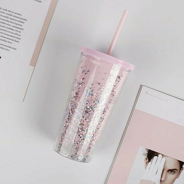 20oz clear glitter tumbler mug insulated pink