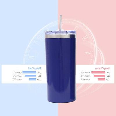 20oz Cup With Straw Steel Vacuum Insulated BPA Free