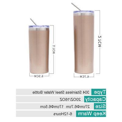 20oz Tumbler Straw Steel Vacuum Insulated Bottle BPA Free