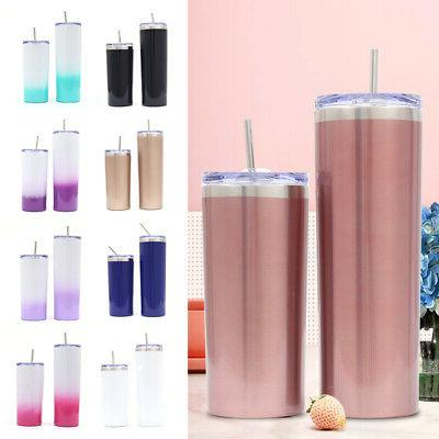 20oz tumbler cup with straw lid stainless