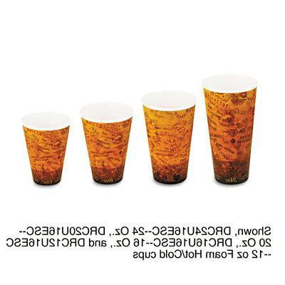 Dart 20U16ESC Foam Hot/Cold Cups, 20oz, Brown/Black