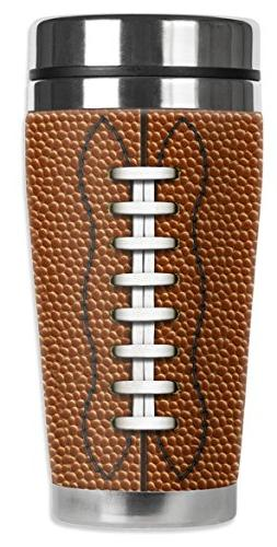 """Mugzie 973-MAX""""Football"""" Stainless Steel Travel Mug with Ins"""